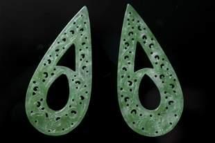 Two tear drop shaped pendants
