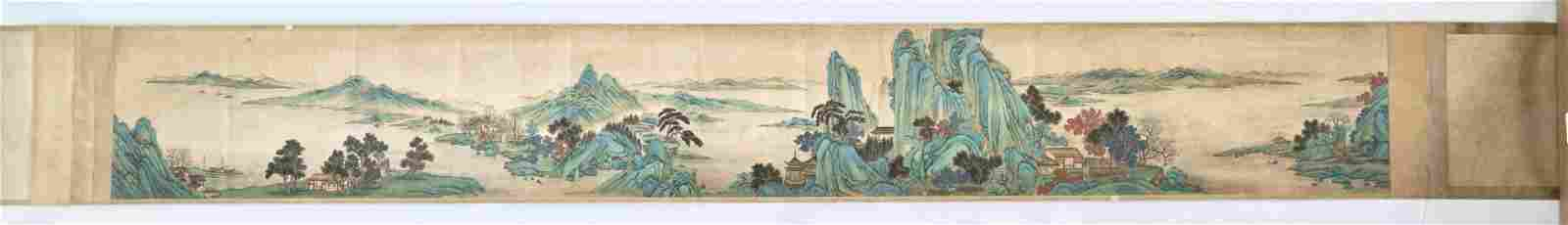 A large blue and green handscroll painting, Qing