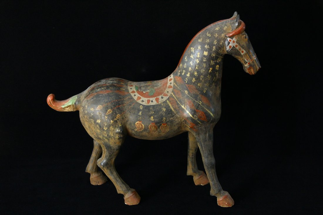 Huge Chinese War Horse with Gilded Characters