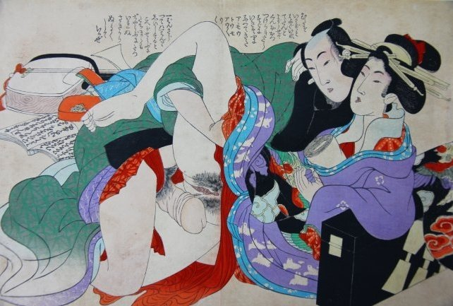Japanese Shunga Erotic Woodblock Print by Utamaro