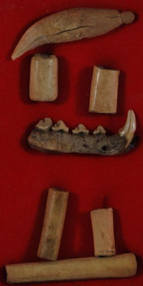 GROUP OF BONE ARTIFACTS INCLUDING 5 HIGHLY