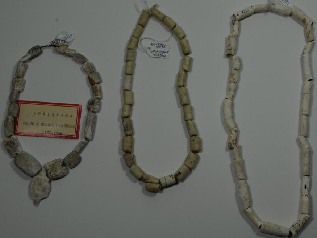 LOT OF 3 NECKLACES 27 PORCELAIN TYPE TRADE BEADS,