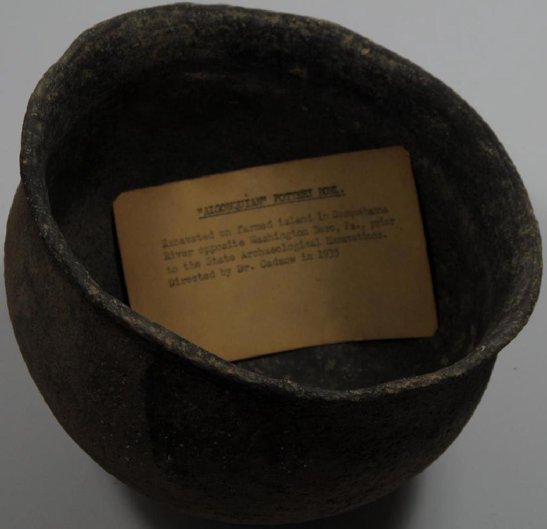 ALGONKIAN POTTERY BOWL EXCAVATED ON FARMED ISLAND