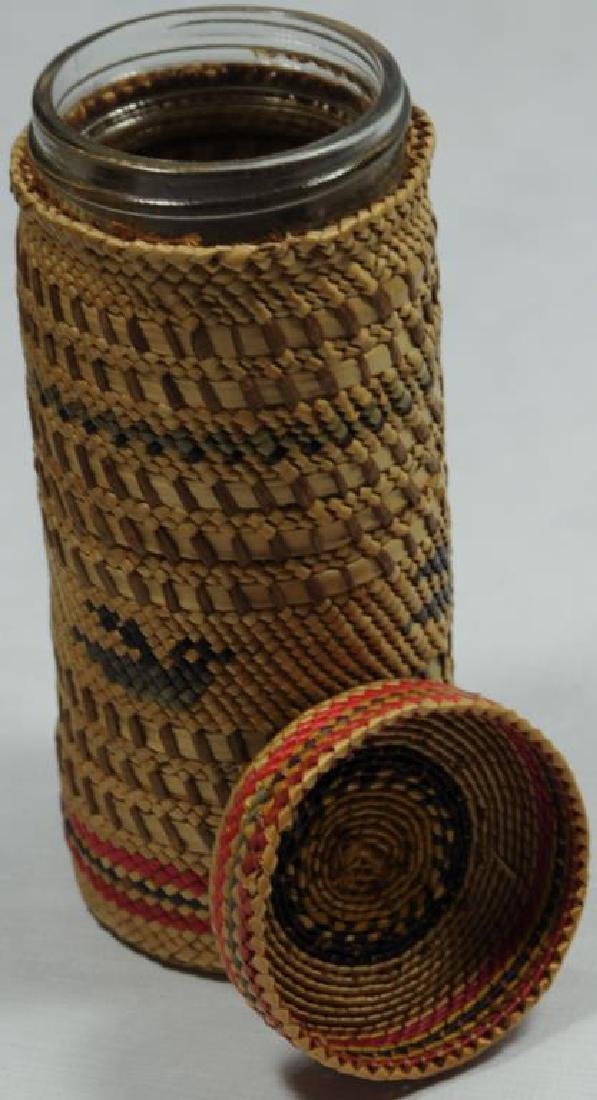 ONE EFFIGY PATTERN MAKAH WOVEN BASKET BOTTLE HAS - 2