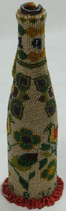 PAIUTE BEADED BOTTLE TOTALLY ALL GLASS BEADED,
