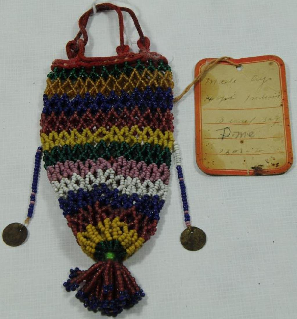 """BEADED PURSE ON OLD TAG IN INK:  """"MADE BY HOPI"""