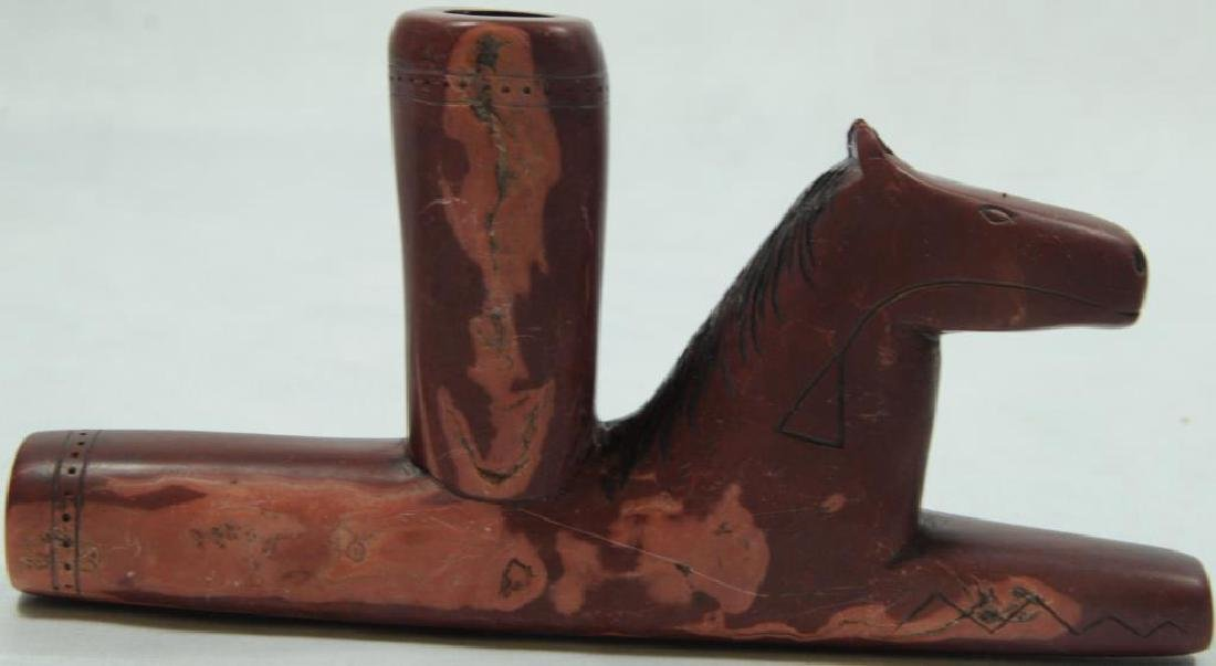 SIOUX RUNNING HORSE EFFIGY PIPE WITH PAINT MARKS, - 2