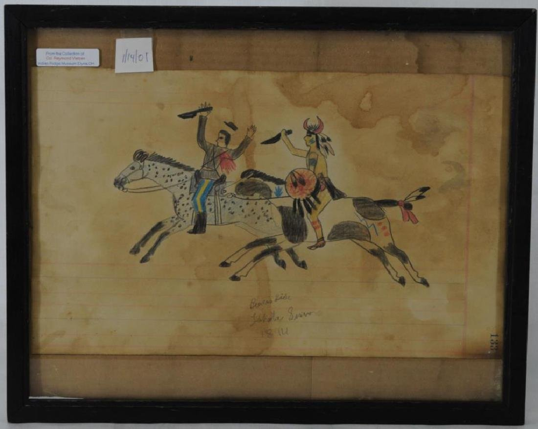 UNIQUE LEDGER STYLE DRAWING OF LAKOTA SIOUX