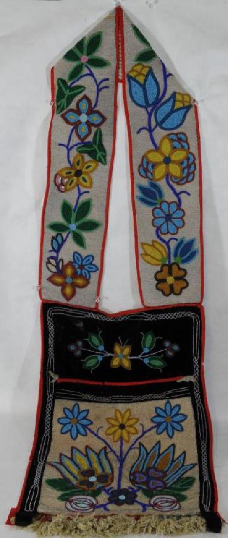 "INDIAN BEADED CEREMONIAL POUCH 20"" H X 14"" W,"