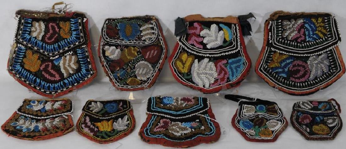 LOT OF 9 IROQUOIS WOODLANDS BEADED POCKET/PURSES
