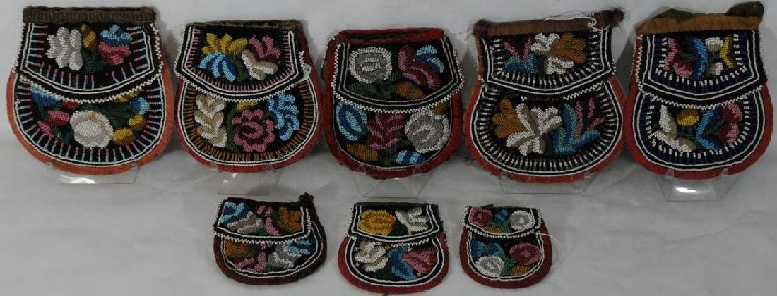 LOT OF 8 IROQUOIS WOODLANDS BEADED POCKET/PURSES