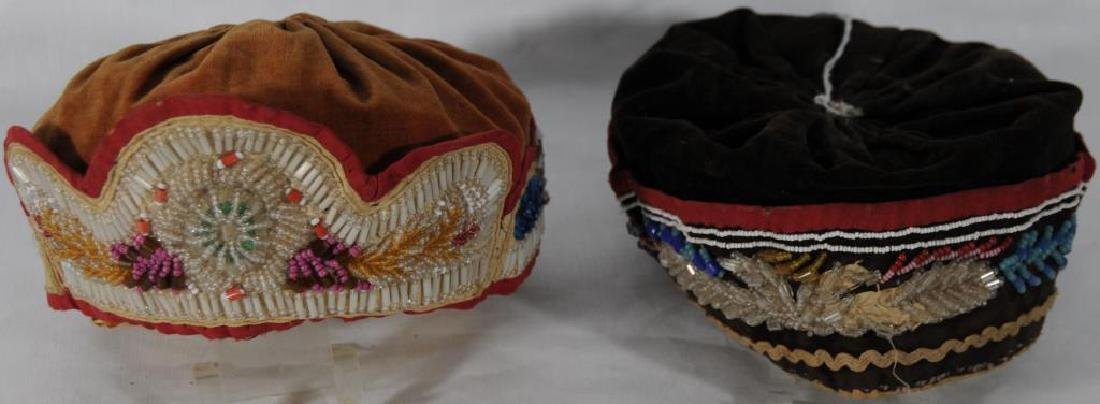 2 BEADED IROQUOIS HATS ROUND STYLE BEADED HAT ON