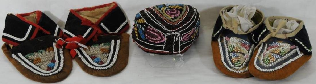 LOT OF 5 BEADED ITEMS TO INCLUDE ONE PAIR OF