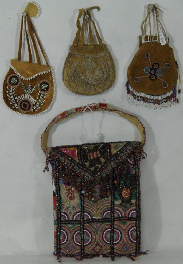 LOT OF 4 (3?) TO INCLUDE BEADED BAG, SMALL,