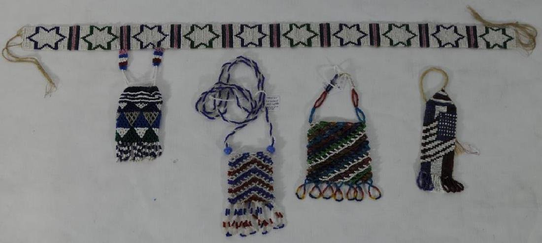 """LOT OF 4 BEADED ITEMS TO INCLUDE 6"""" BEADED BAG"""