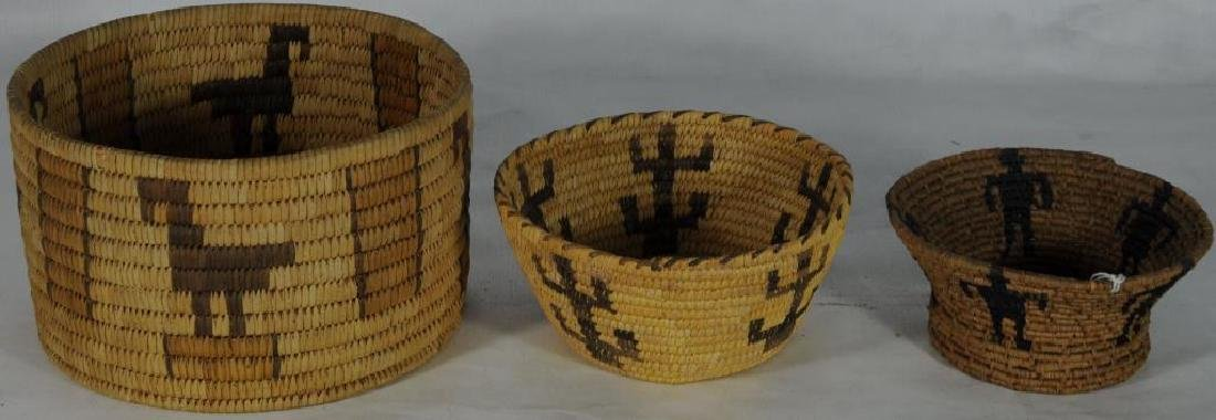 LOT OF 3 BASKETS TO INCLUDE COILED BASKET, 5 1/2""