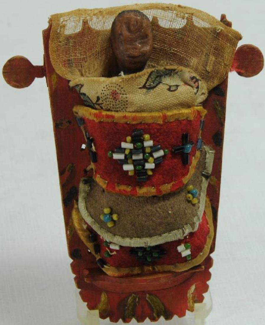 MINIATURE CRADLEBOARD WITH WAX DOLL CARVED