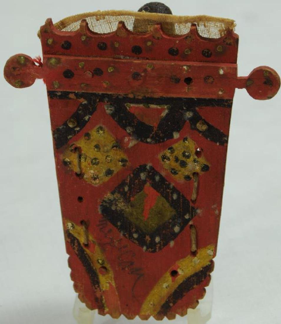 MINIATURE CRADLEBOARD WITH WAX DOLL CARVED - 2