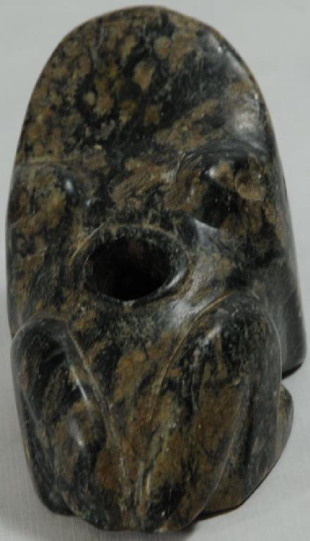 STONE FROG EFFIGY PIPE GREEN WITH MOTTLED BROWN - 4