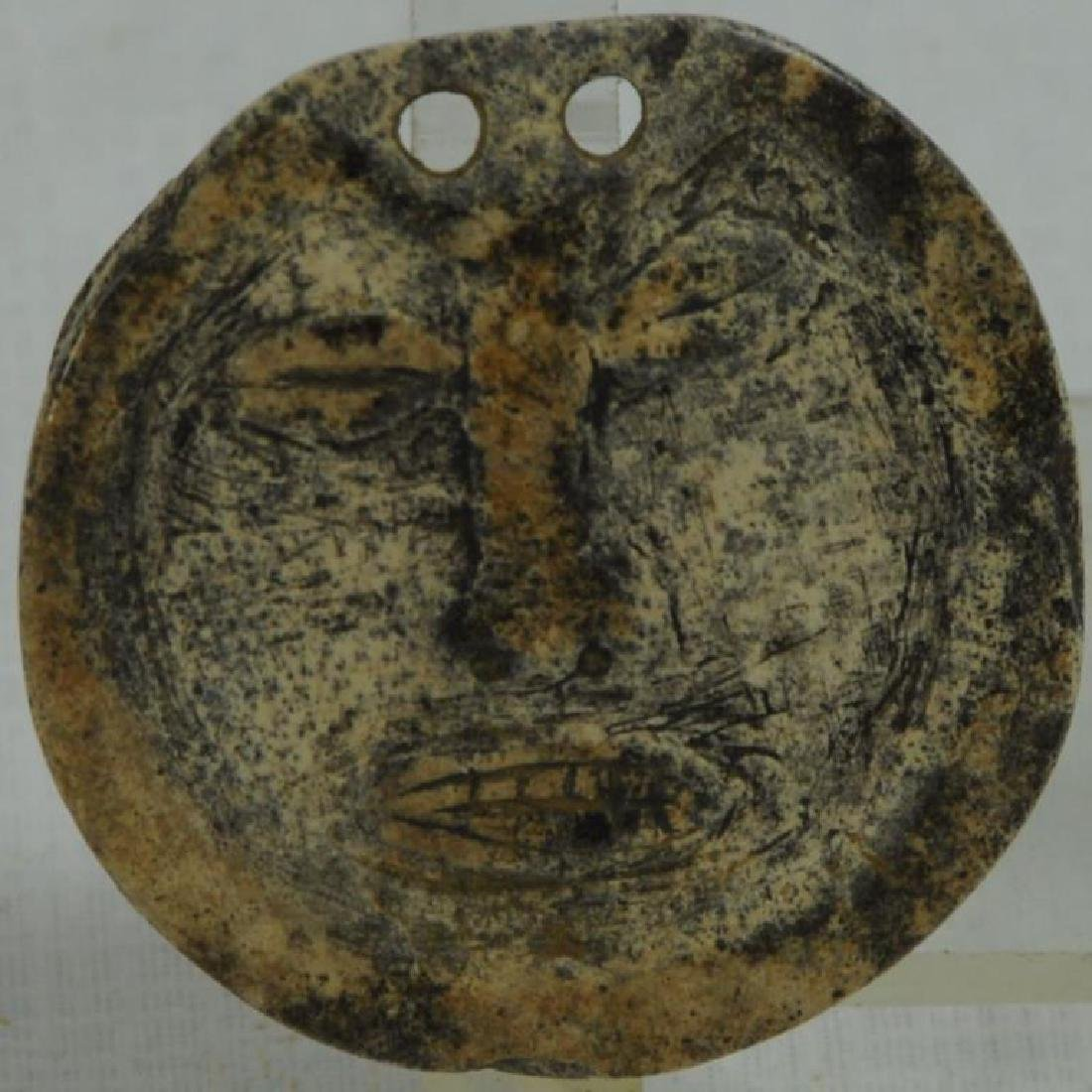 """EXTREMELY RARE CULT """"DEATH MASK"""" GORGET CARVED IN"""