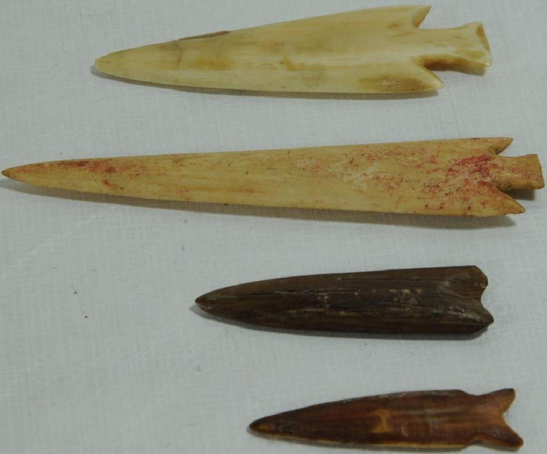 LOT OF 4 BONE/ANTLER PROJECTILE POINTS TO INCLUDE