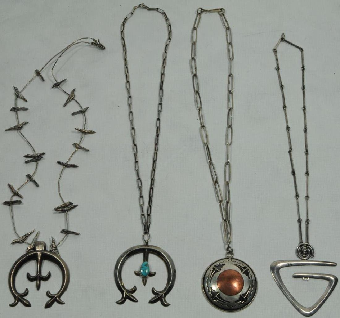 LOT OF 4 NAVAJO SILVER NECKLACES ONE WITH COPPER,