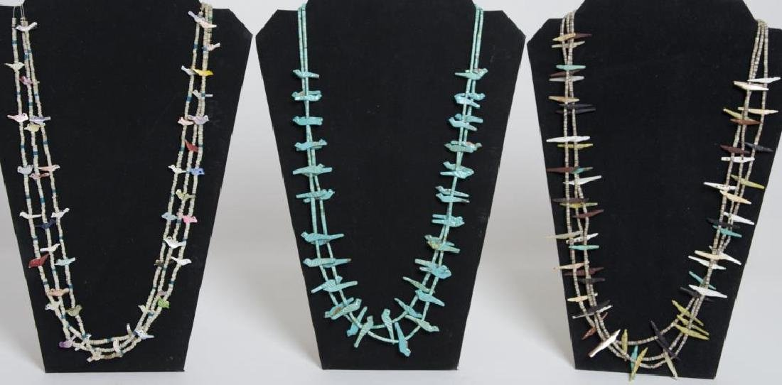 THREE ZUNI FETISH NECKLACES, CARVED TURQUOISE
