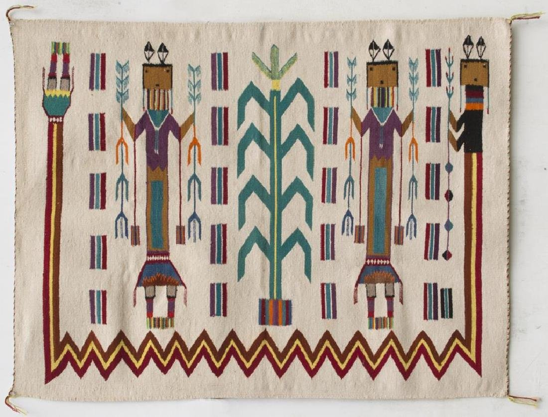 NAVAJO HANDWOVEN YEI RUG, WITH THREE COLOURFUL