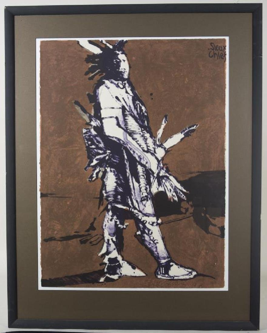 """""""SIOUX CHIEF"""" LITHOGRAPH ON CREAM WOVE PAPER, BY"""