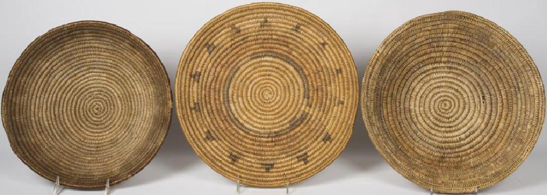 THREE EARLY NAVAJO BASKETS, COIL FOUNDATIONS,