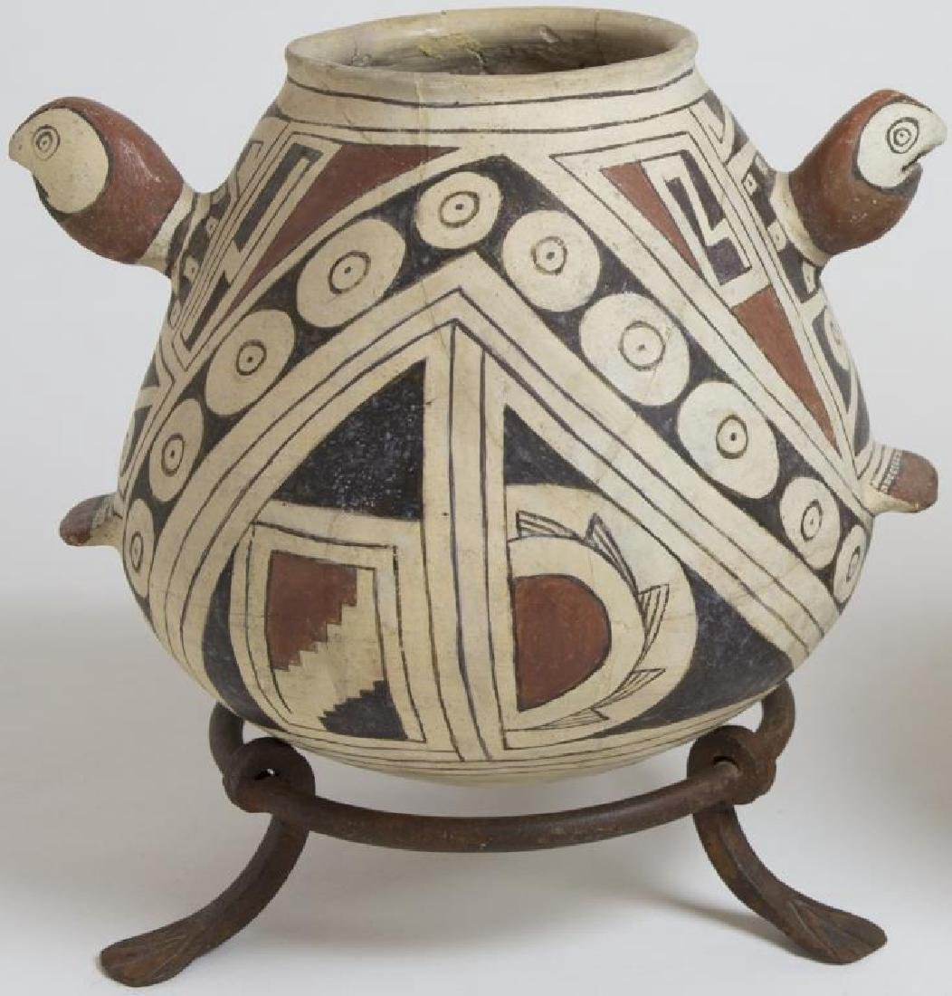 2 PUEBLO POTTERY, CASAS GRANDE EFFIGY POT WITH