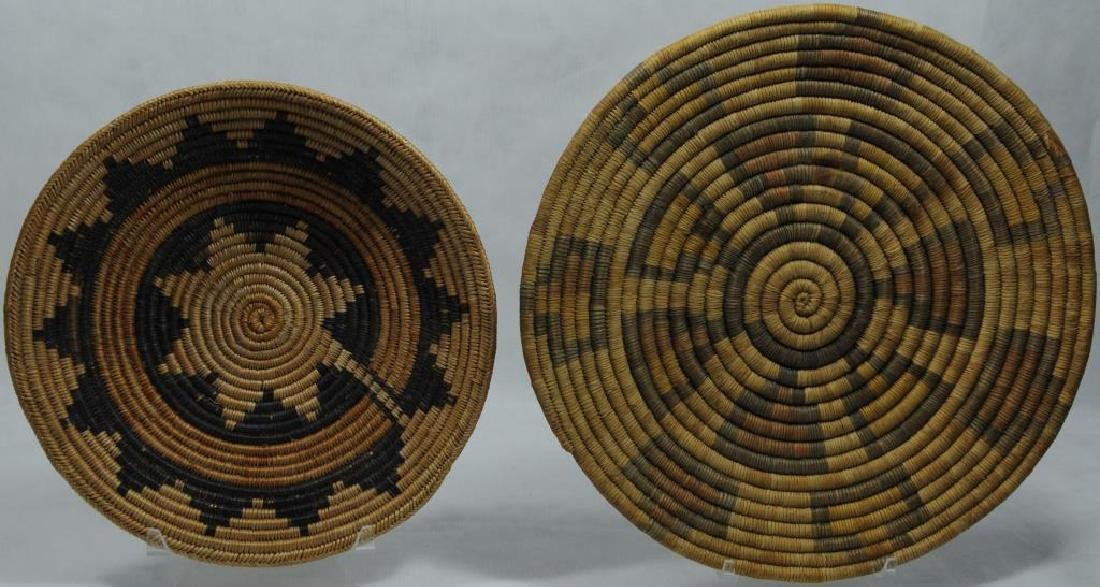 2 BASKETRY TRAYS TO INCLUDE VERY FINELY WOVEN