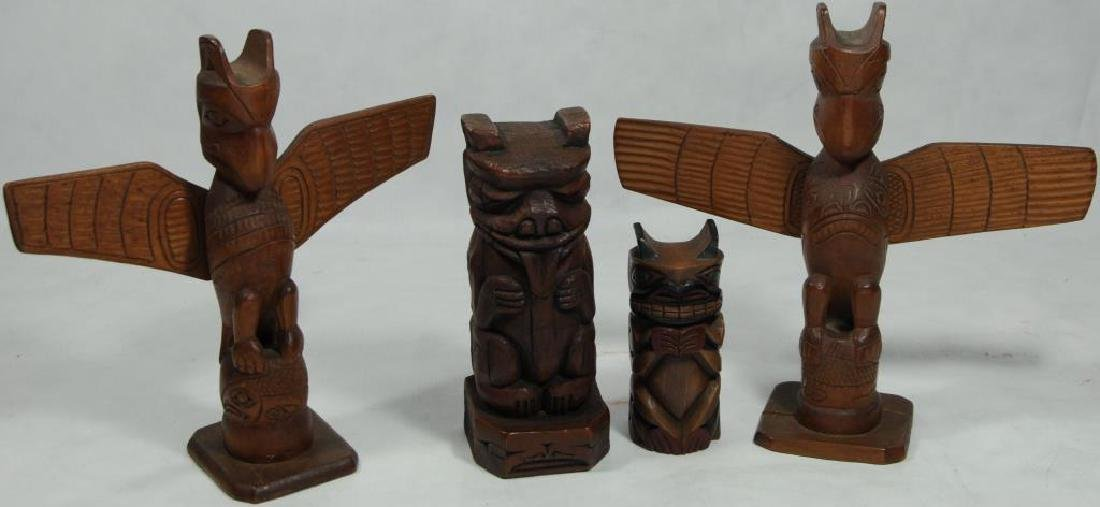 LOT OF 4 CARVED TOTEMS TO INCLUDE HAIDA TOTEM