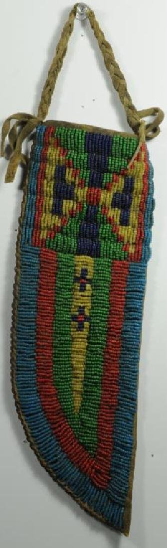 SIOUX BEADED KNIFE SHEATH DARK BLUE, RED, GREEN,
