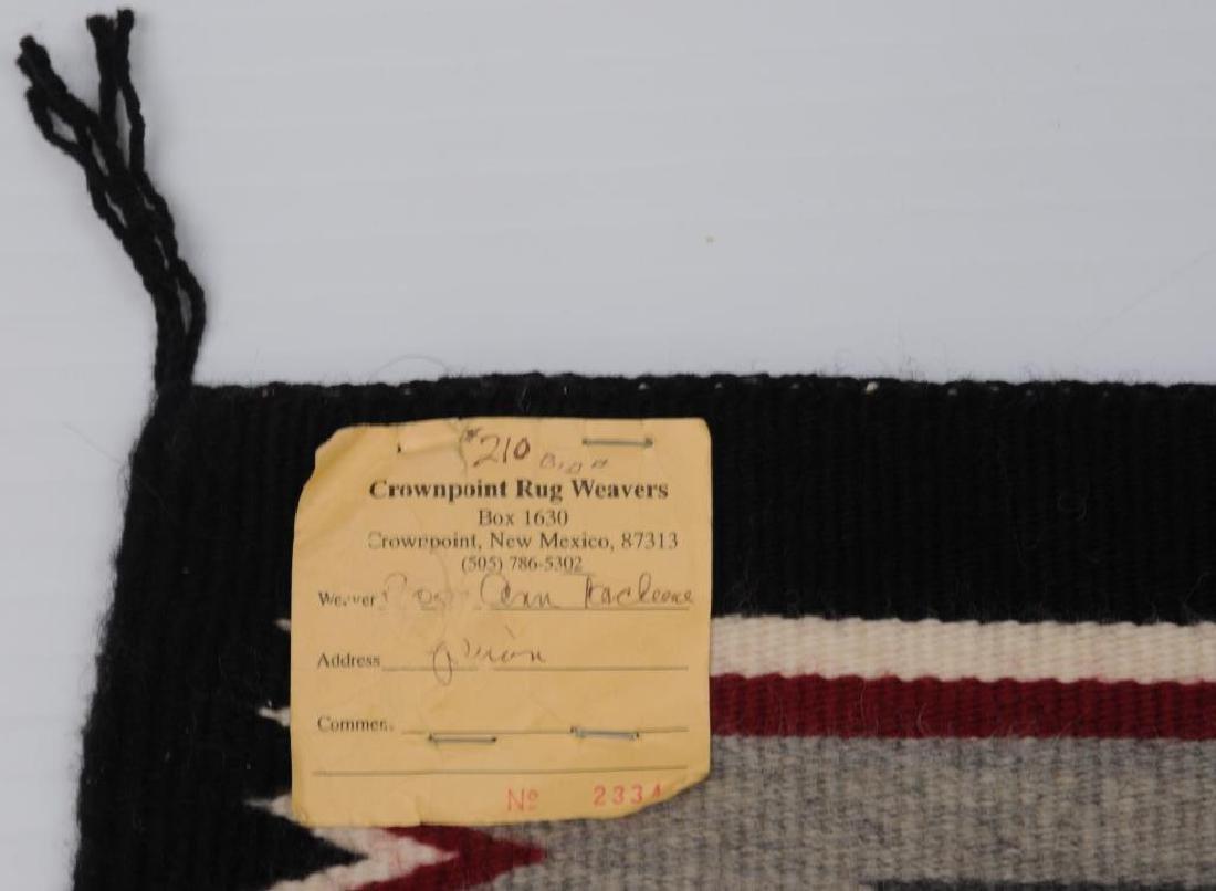 NAVAJO RUG SOLD BY CROWN POINT RUG WEAVERS, NEW - 2