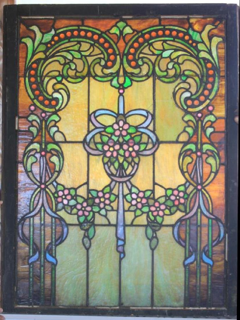 LATE 19TH C. LEADED GLASS WINDOW W/ FLORAL DESIGN
