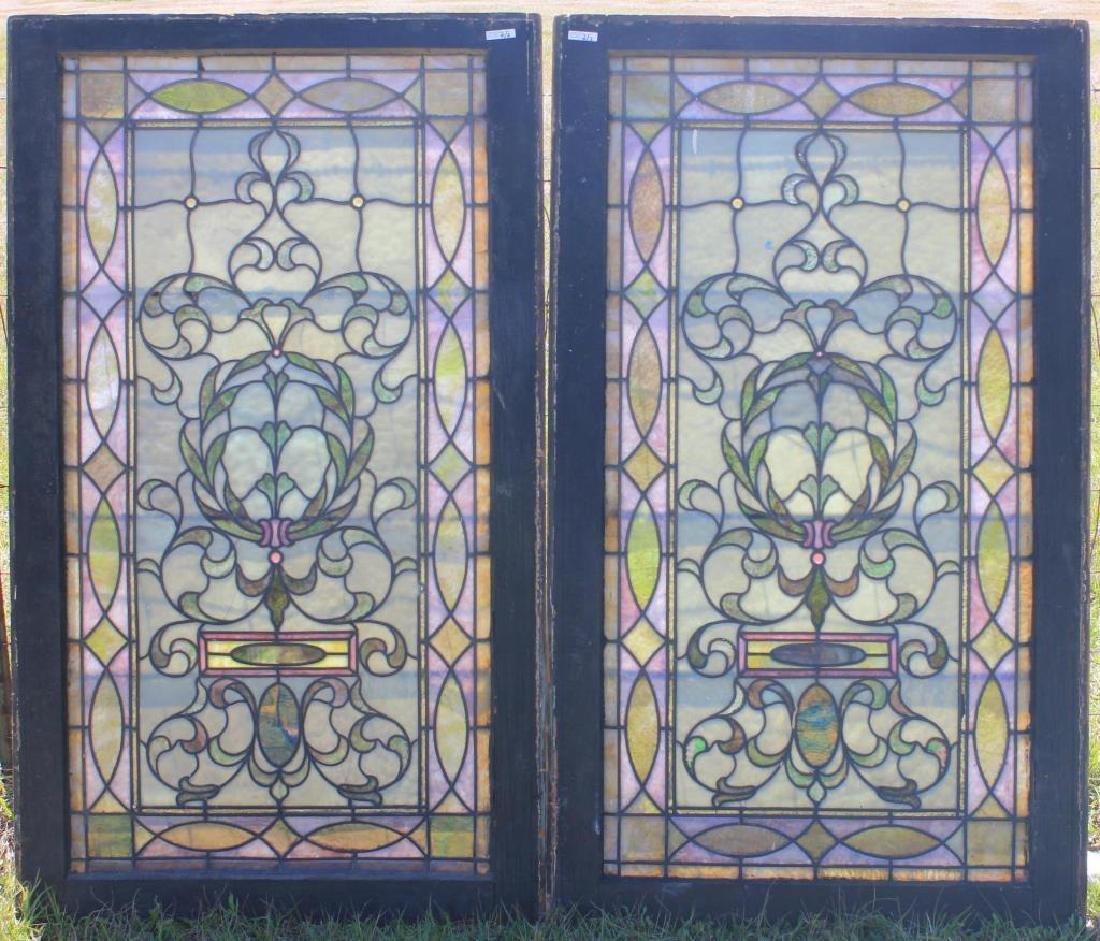2 LATE 19TH C. LEADED GLASS WINDOWS, GEOMETRIC