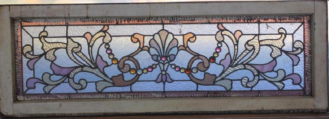 LATE 19TH C. LEADED GLASS TRANSOM WINDOW, SHOWS