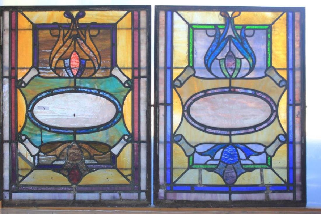 2 SIMILAR LATE 19TH C. LEADED GLASS WINDOWS, 29