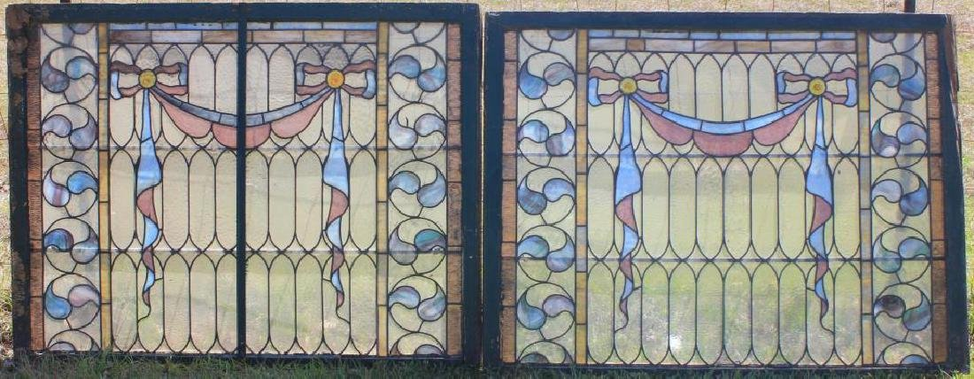 "2 MATCHING 19TH C. LEADED GLASS WINDOWS, 41"" H X"