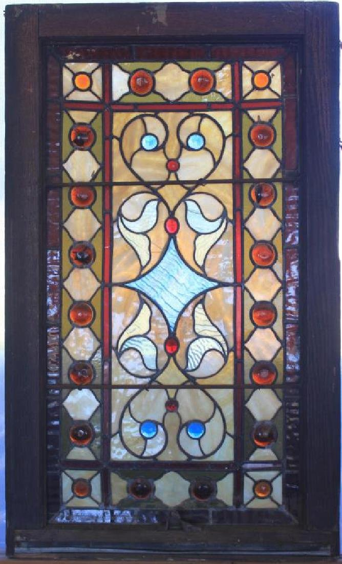 19TH C. LEADED GLASS AND JEWELED WINDOW, 33 1/2""
