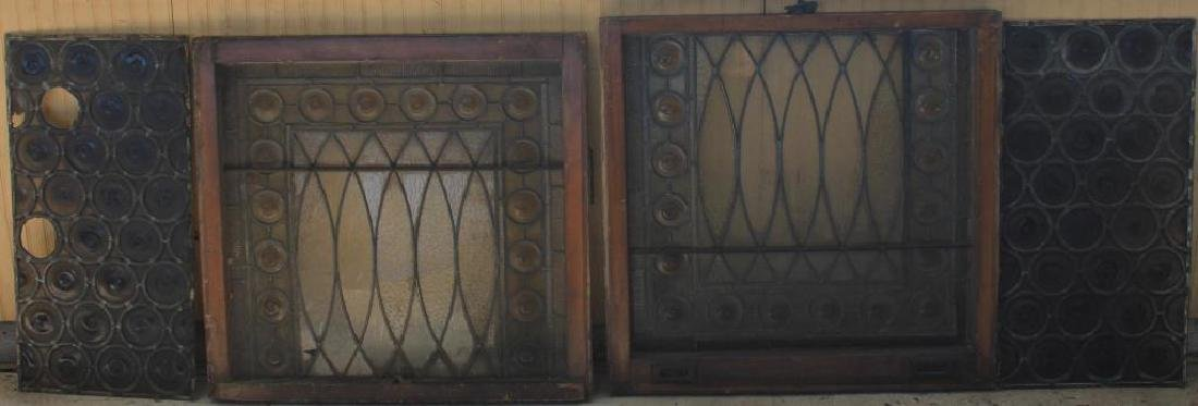 LOT OF 4 SIMILAR BULLS EYE GLASS LEADED WINDOWS,