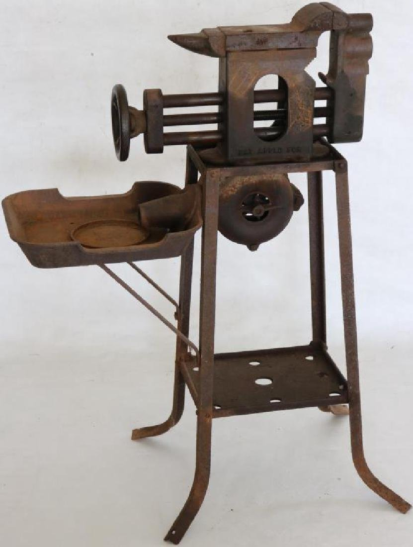 EARLY 20TH C. IRON BLOWER FORGE W/ VISE AND