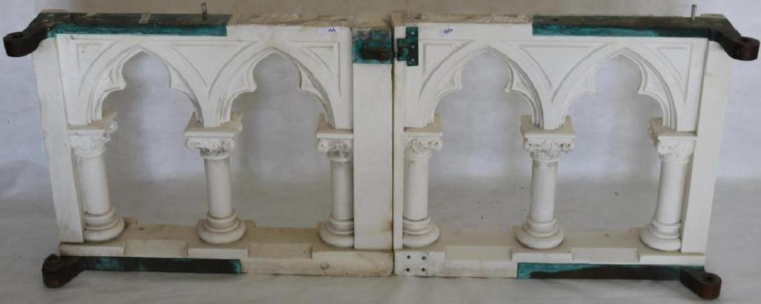 2 19TH C. CARVED MARBLE GATES, W/ BRONZE HINGES,