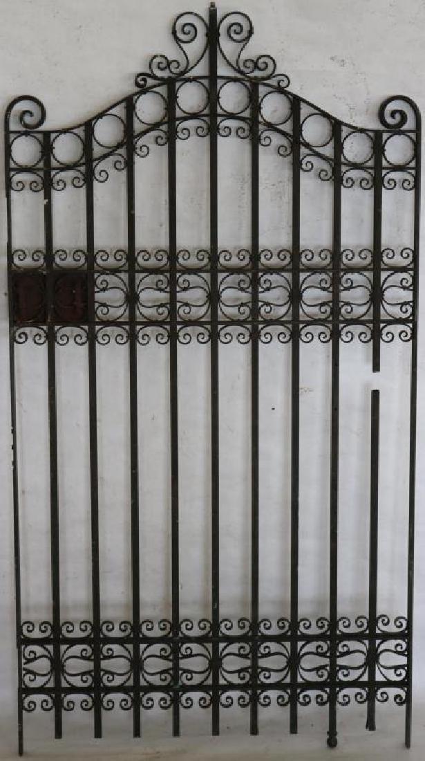 ORNATE EARLY 20TH C. BRONZE GATE, 1 RAIL CUT, 51