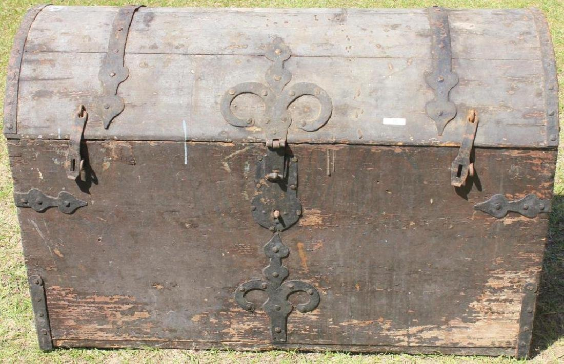 LARGE EUROPEAN DOME TOP IRON BOUND CHEST OLD BARN