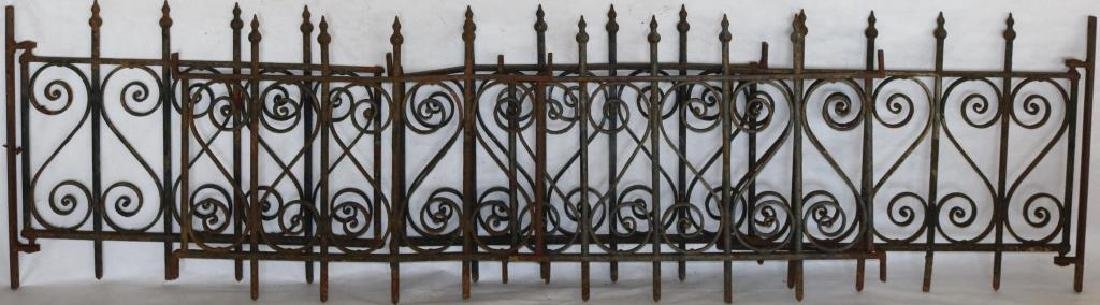 5 SECTIONS OF WROUGHT IRON FENCE TO INCLUDE 2