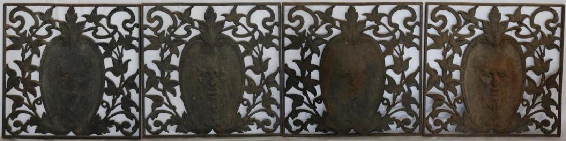 4 LATE 19TH C. CAST IRON PANELS, OPEN FLORAL WORK