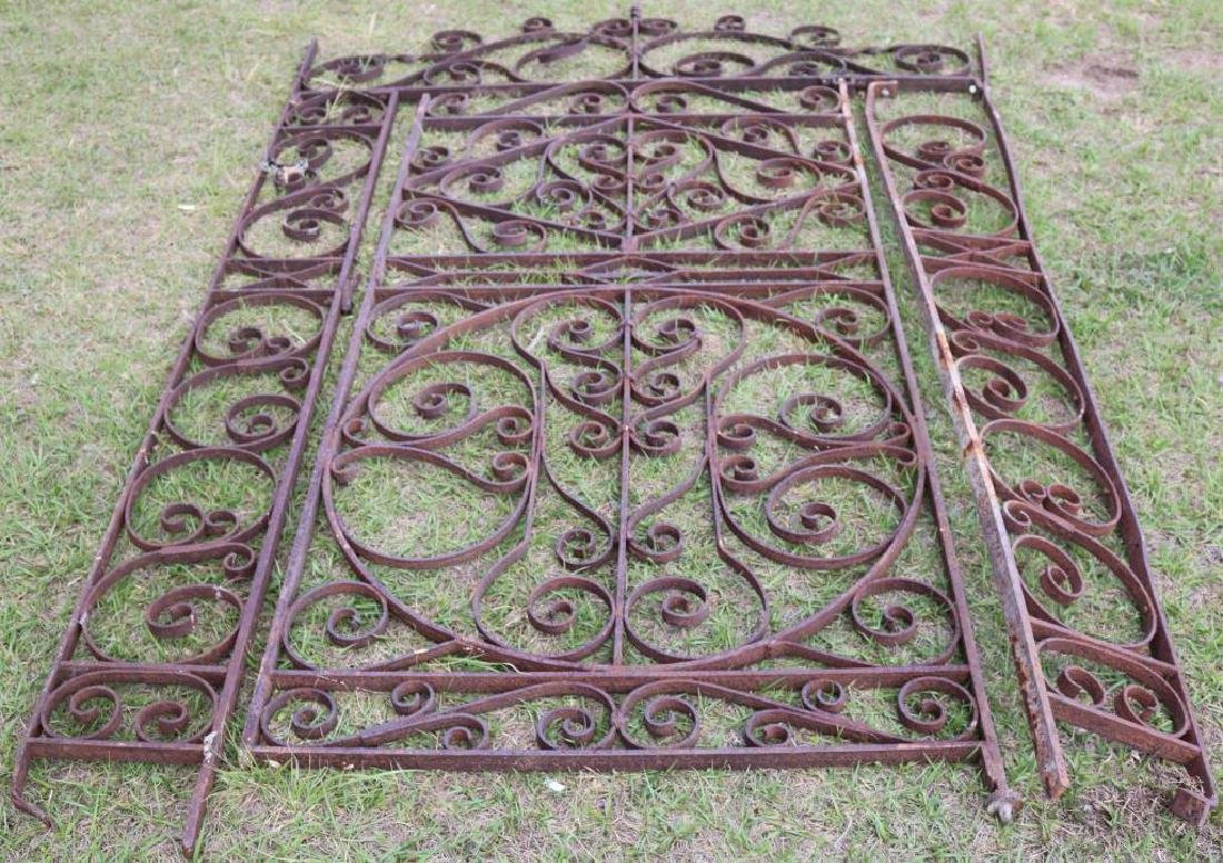 19TH C. WROUGHT IRON GATE AND ARCH, ORNATE SCROLL