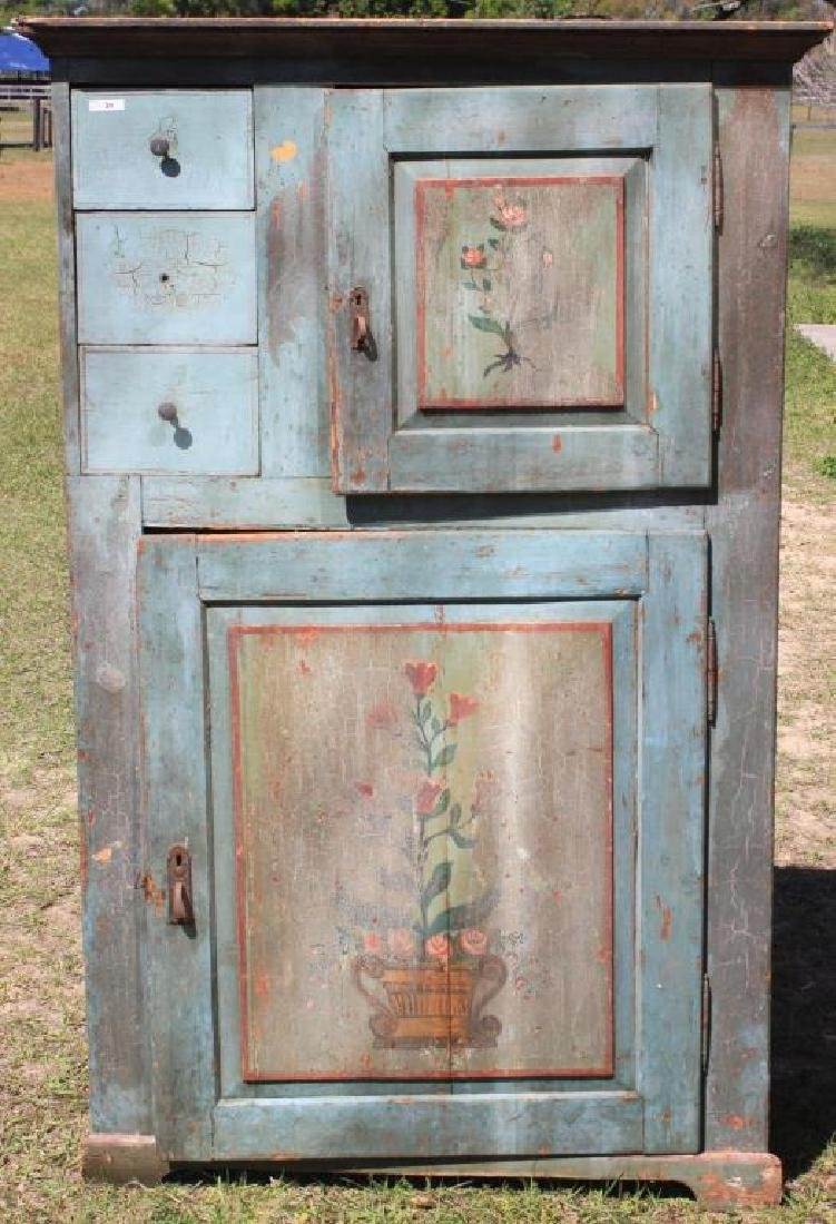19TH C. EUROPEAN CABINET OLD BLUE PAINTED